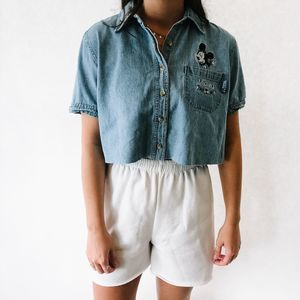 Vintage Denim Embroidery Mickey Cropped Top